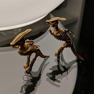 Duckbilled Dinosaur Earrings Dino Nerd Geek Bones